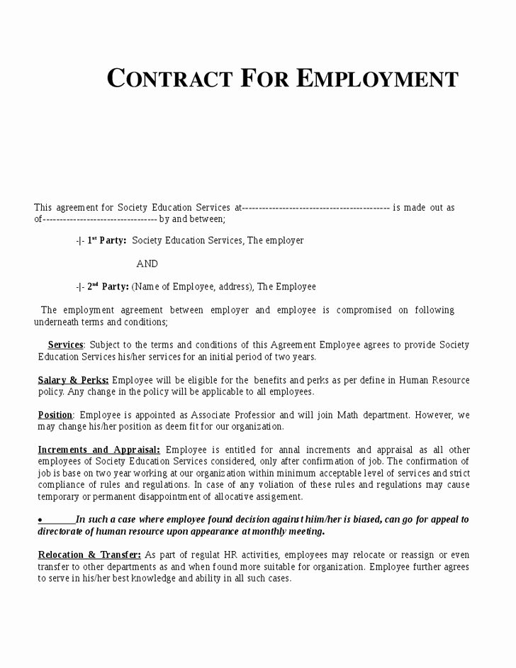 Employment Agreement Template Word Beautiful Example Employment Contract Invitation Templates