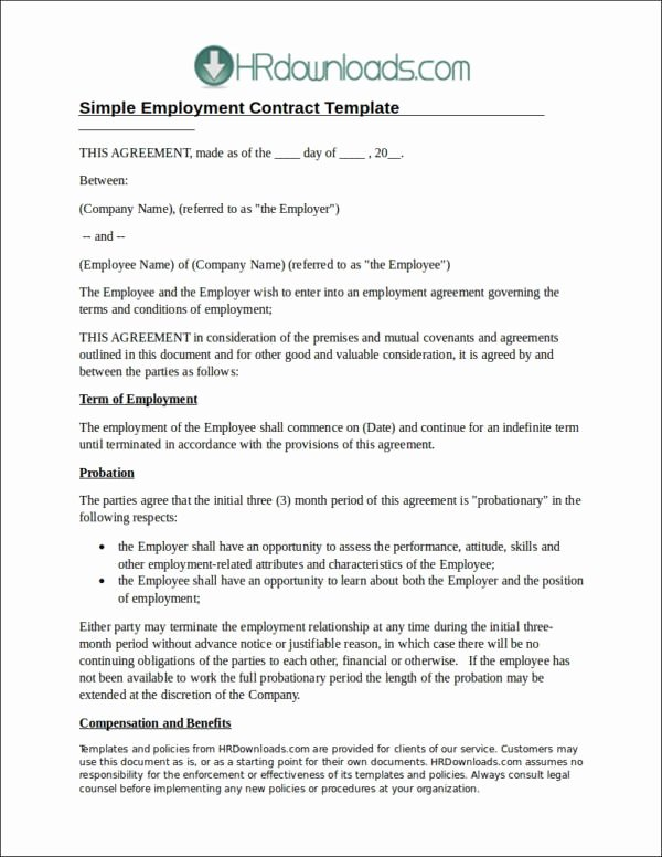 Employment Agreement Template Word Elegant 22 Employee Contract Templates Docs Word
