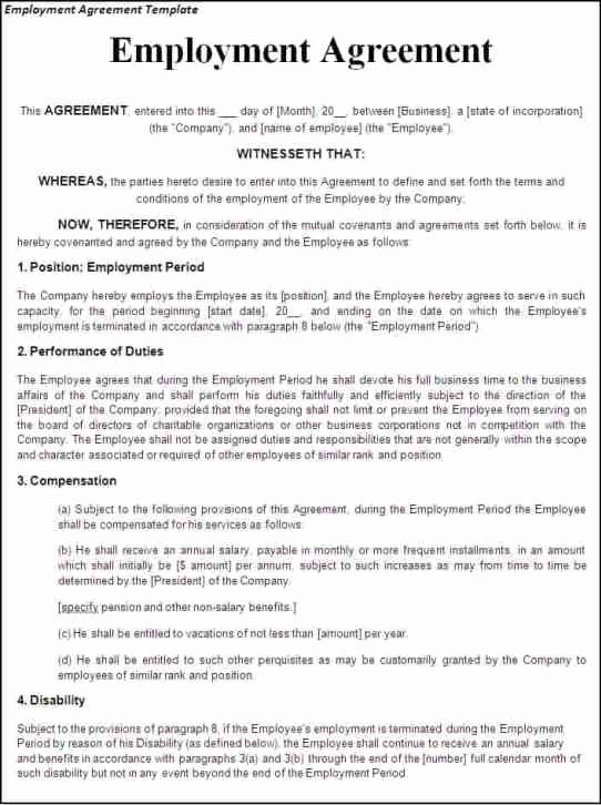 Employment Agreement Template Word Elegant top 5 Free Employment Agreement Templates Word Templates