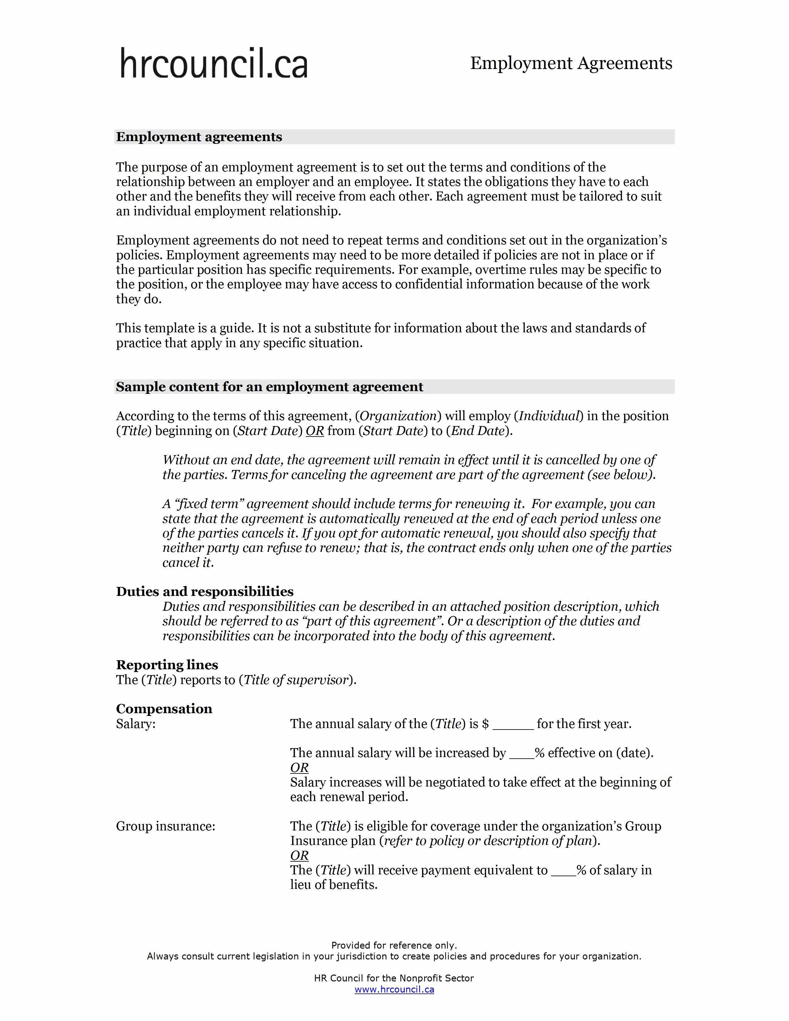Employment Agreement Template Word Inspirational Employment Agreement Template