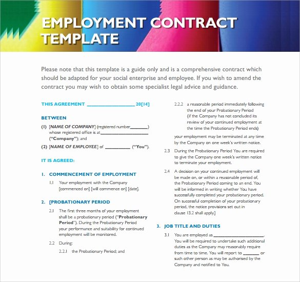 Employment Agreement Template Word Inspirational Employment Contract 9 Download Documents In Pdf Doc