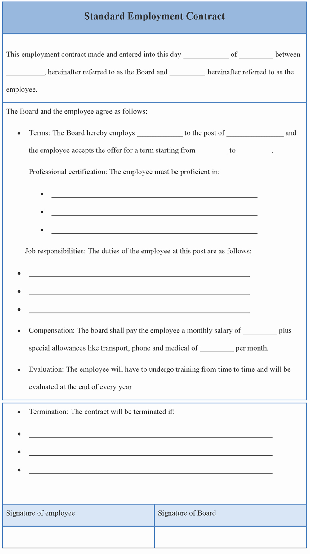 Employment Agreement Template Word New Employment Contract Template