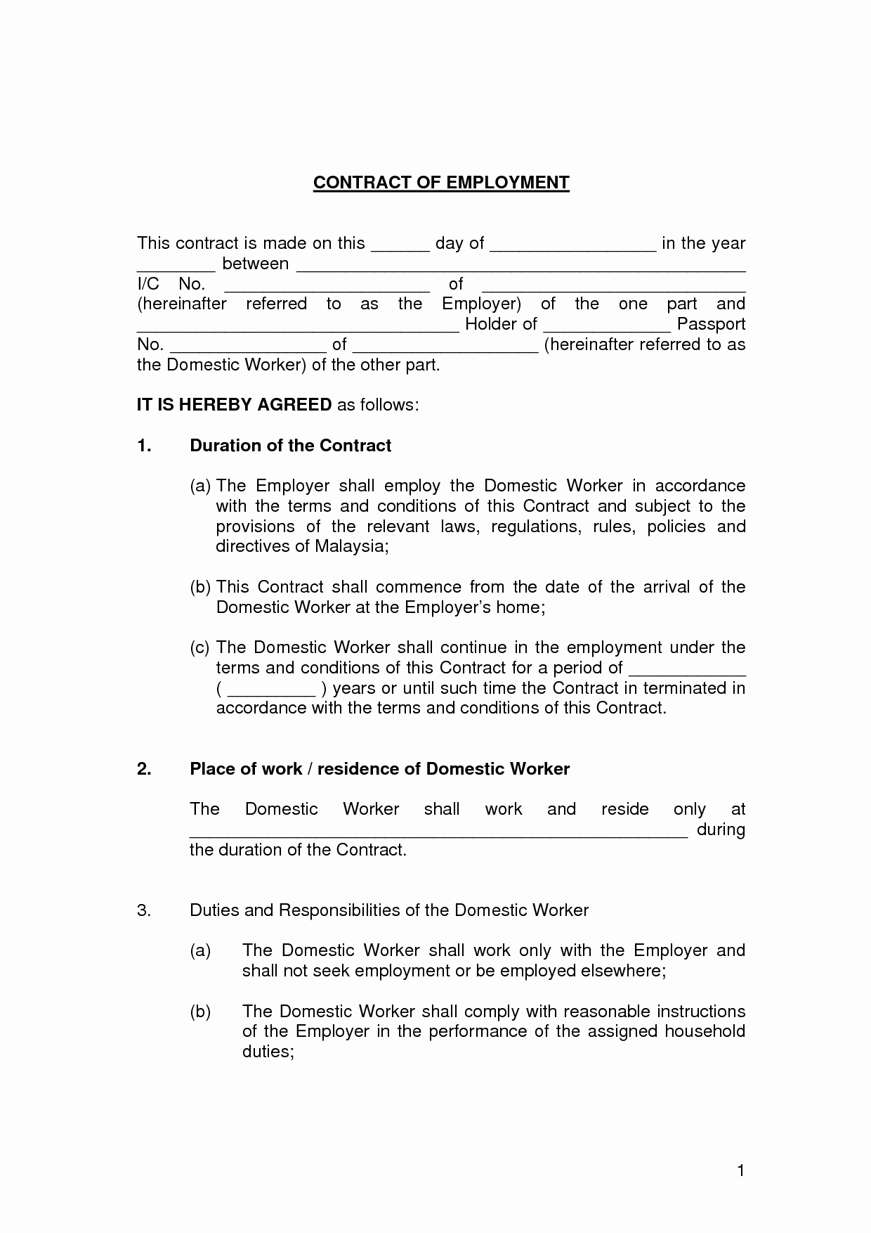 Employment Agreement Template Word New Free Printable Employment Contract Sample form Generic
