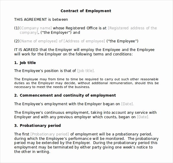 Employment Agreement Template Word Unique Download Microsoft Fice Templates Employment Contract