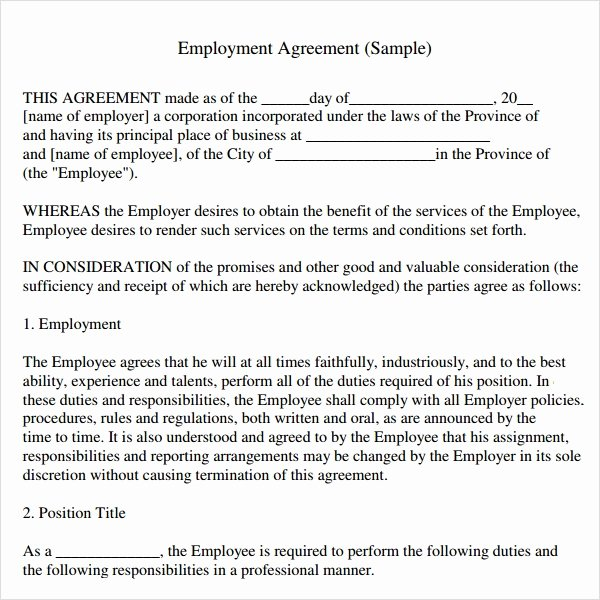 Employment Contract Template Word Awesome Sample Employment Agreement 8 Free Documents Download