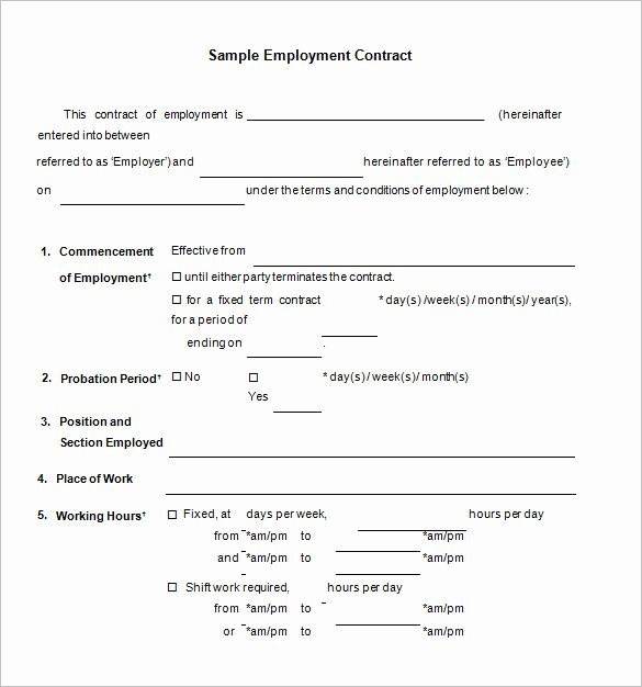 Employment Contract Template Word Fresh Employment Contract Template Word