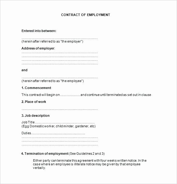 Employment Contract Template Word Inspirational Employment Contract Template Word Image – Contract Word