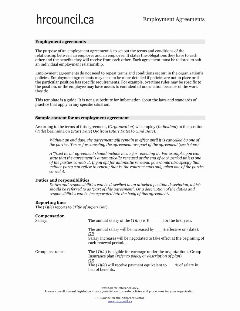 Employment Contract Template Word Luxury Employment Agreement Template