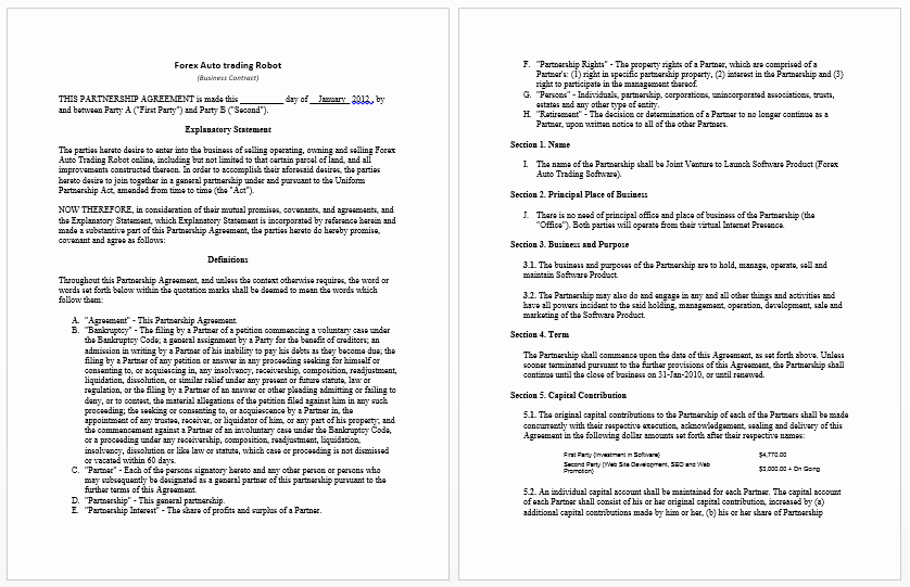 Employment Contract Template Word New Business Contract Templates 8 Free Samples Microsoft