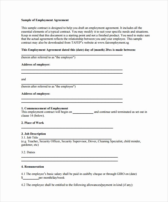 Employment Contract Template Word Unique 23 Sample Employment Contract Templates Docs Word