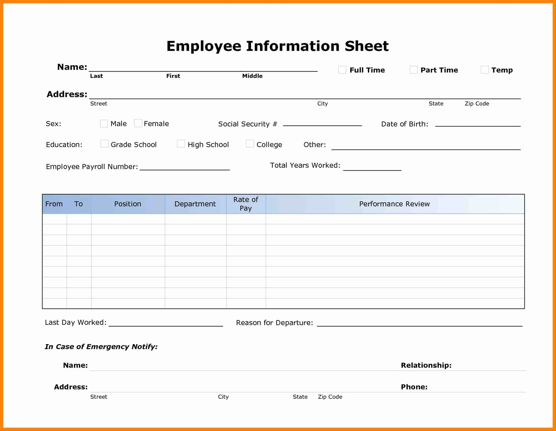 Employment Information form Template Awesome Employee Personal Data form Template