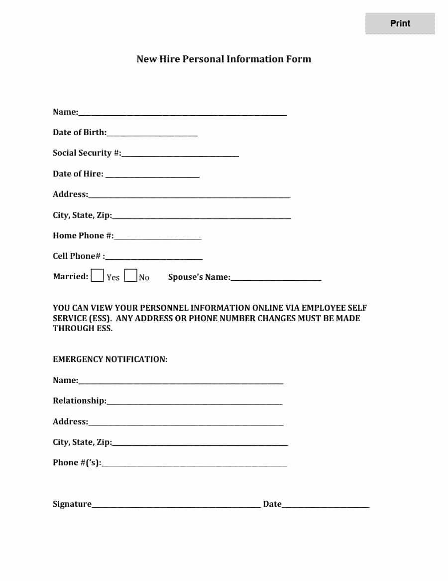 Employment Information form Template Best Of 47 Printable Employee Information forms Personnel