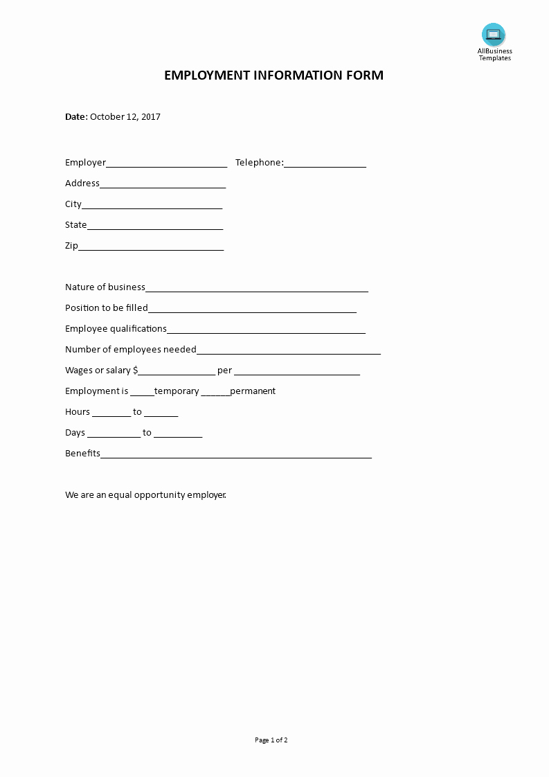 Employment Information form Template Best Of Employment Information form Template