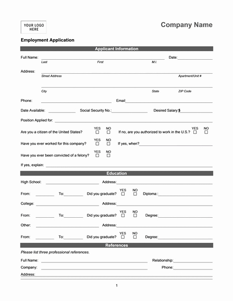 Employment Information form Template Fresh Job Application for Character Analysis