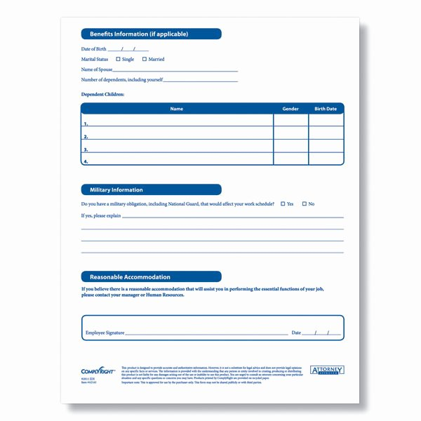 Employment Information form Template Inspirational Downloadable New Employee Information Sheet From Plyright