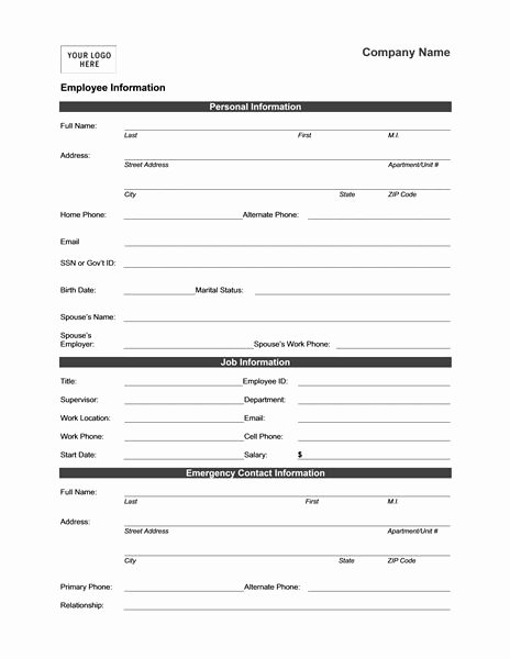 Employment Information form Template Inspirational Employee Information form Templates Mbo