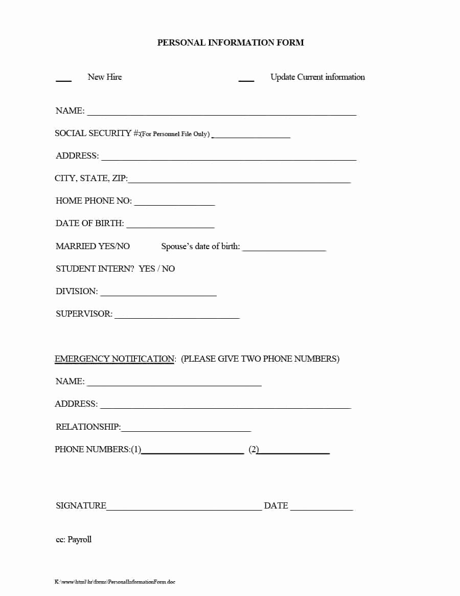 Employment Information form Template Luxury 47 Printable Employee Information forms Personnel