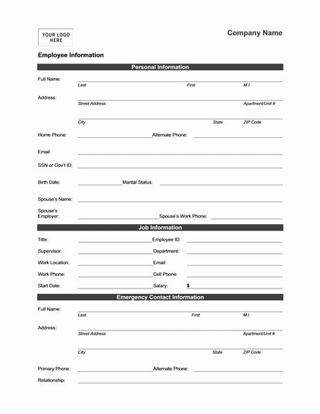 Employment Information form Template New Employee Information form Templates Mbo