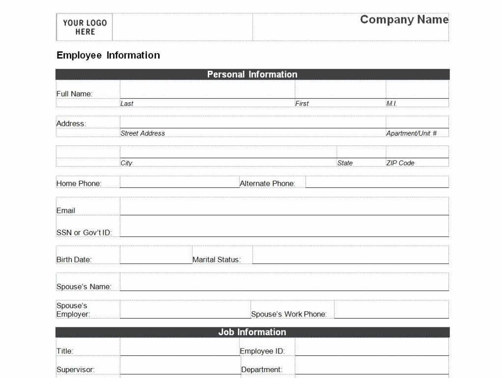 Employment Information form Template New Employee Information forms Templates