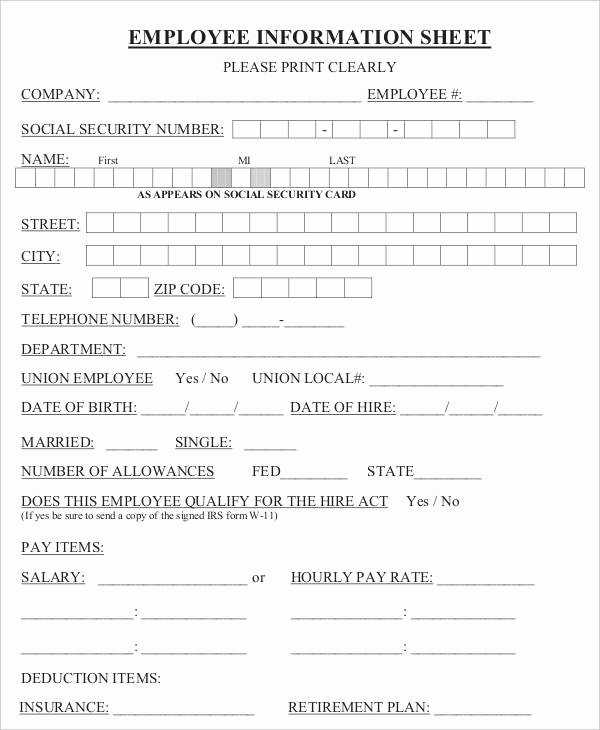 Employment Information form Template Unique Employee Sheet Templates 13 Free Word Pdf format