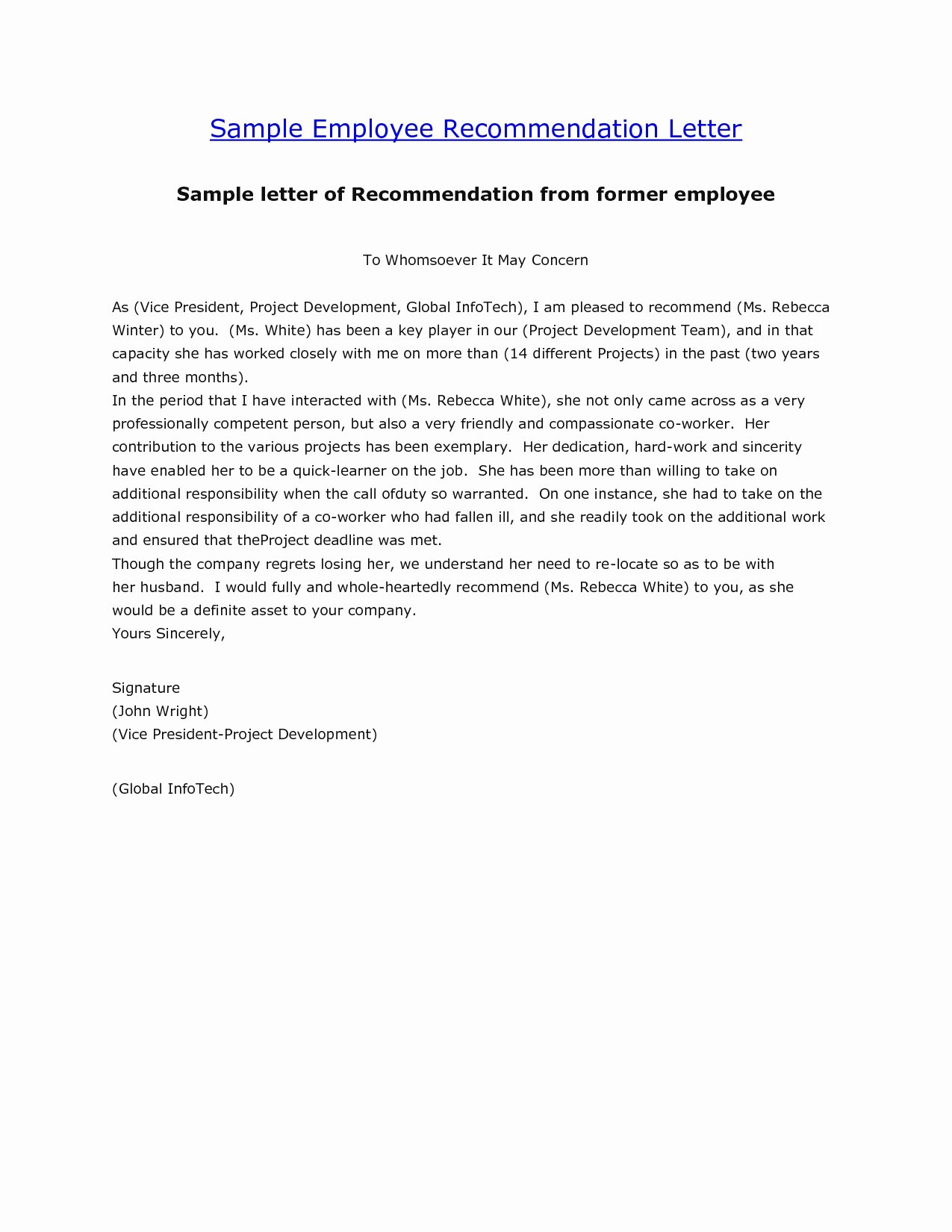 Employment Letter Of Recommendation Template Awesome [free] Letter Of Re Mendation Examples Samples