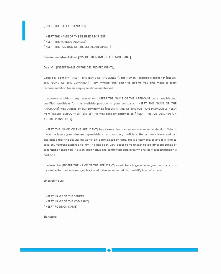Employment Letter Of Recommendation Template Beautiful 50 Best Re Mendation Letters for Employee From Manager
