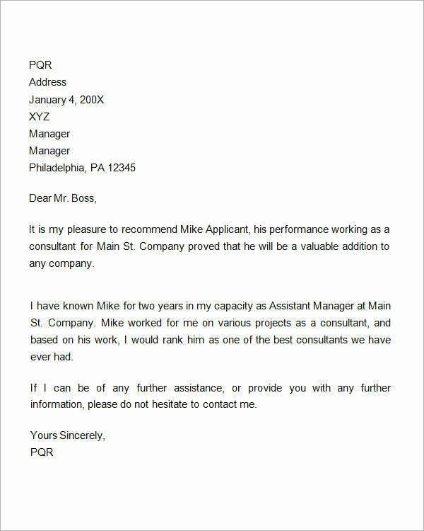 Employment Letter Of Recommendation Template Best Of 9 Reference Letter for Employment Examples Pdf