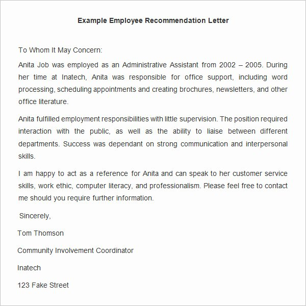 Employment Letter Of Recommendation Template Elegant 18 Employee Re Mendation Letters Pdf Doc