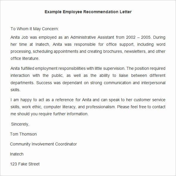 Employment Letter Of Recommendation Template Elegant 18 Employee Re Mendation Letters Pdf Doc