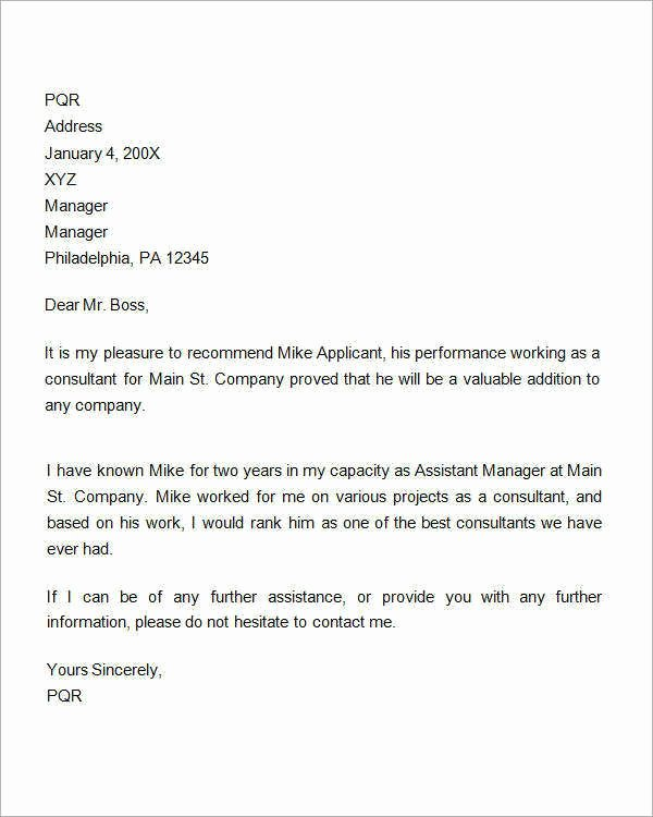 Employment Letter Of Recommendation Template Fresh Re Mendation Letter for Employment Promotion