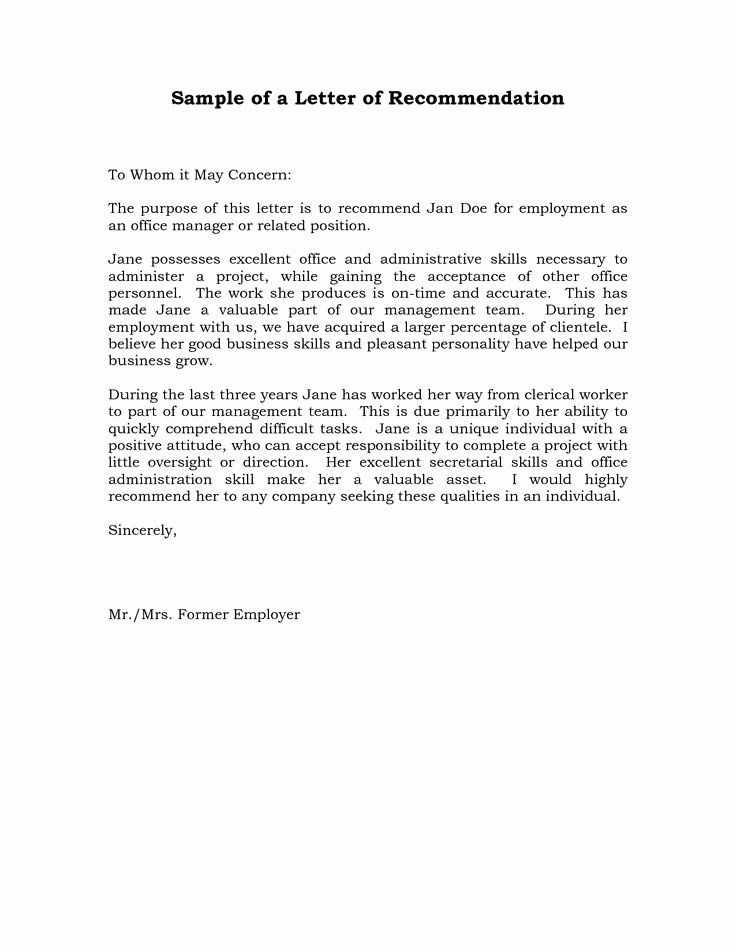 Employment Letter Of Recommendation Template Fresh Reference Letter Re Mendation Sample