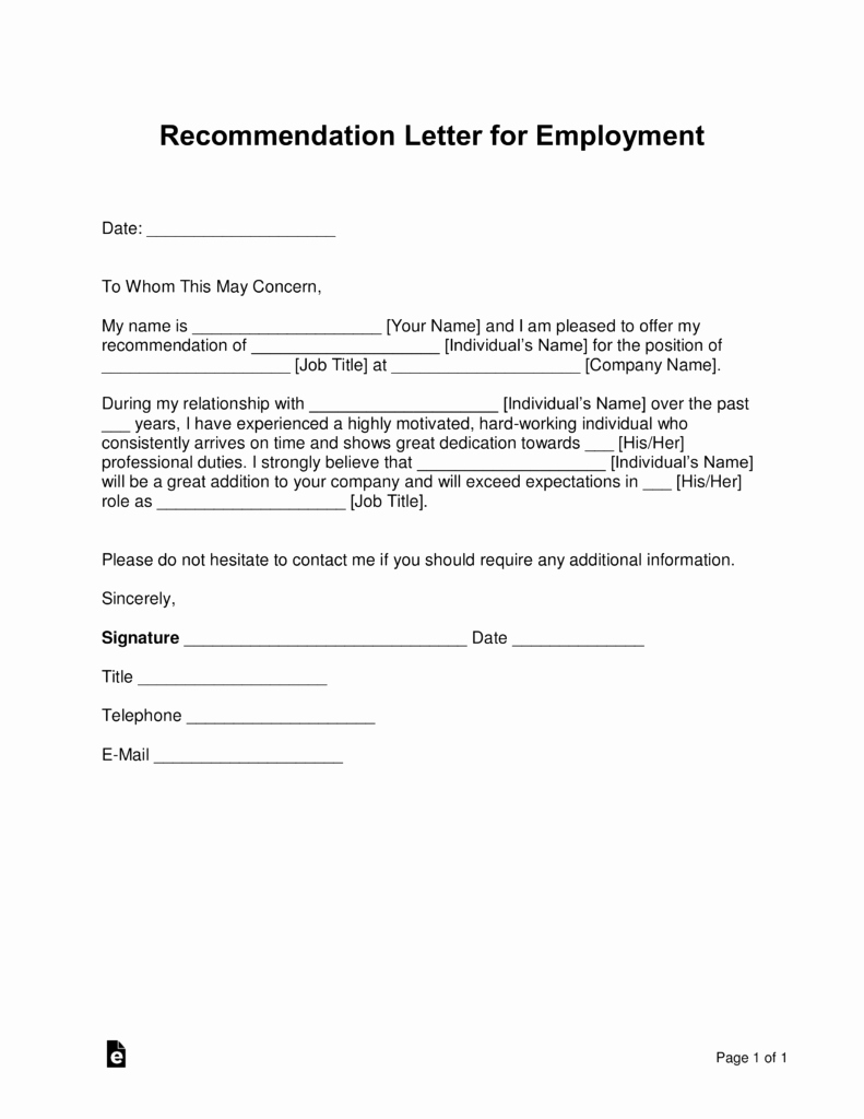 Employment Letter Of Recommendation Template Lovely Free Job Re Mendation Letter Template with Samples