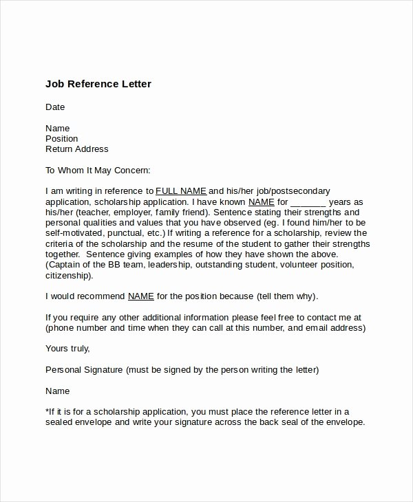 Employment Letter Of Recommendation Template New 7 Job Reference Letter Templates Free Sample Example