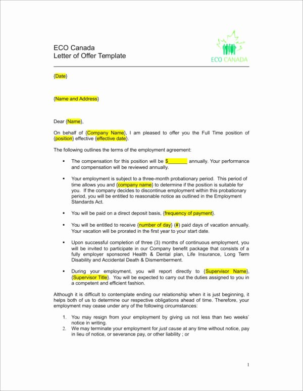 Employment Offer Letter Templates Beautiful What is Included In A Job Fer Letter —with Samples