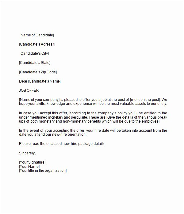 Employment Offer Letter Templates Fresh Free 15 Sample Job Fer Letters In Pdf Word