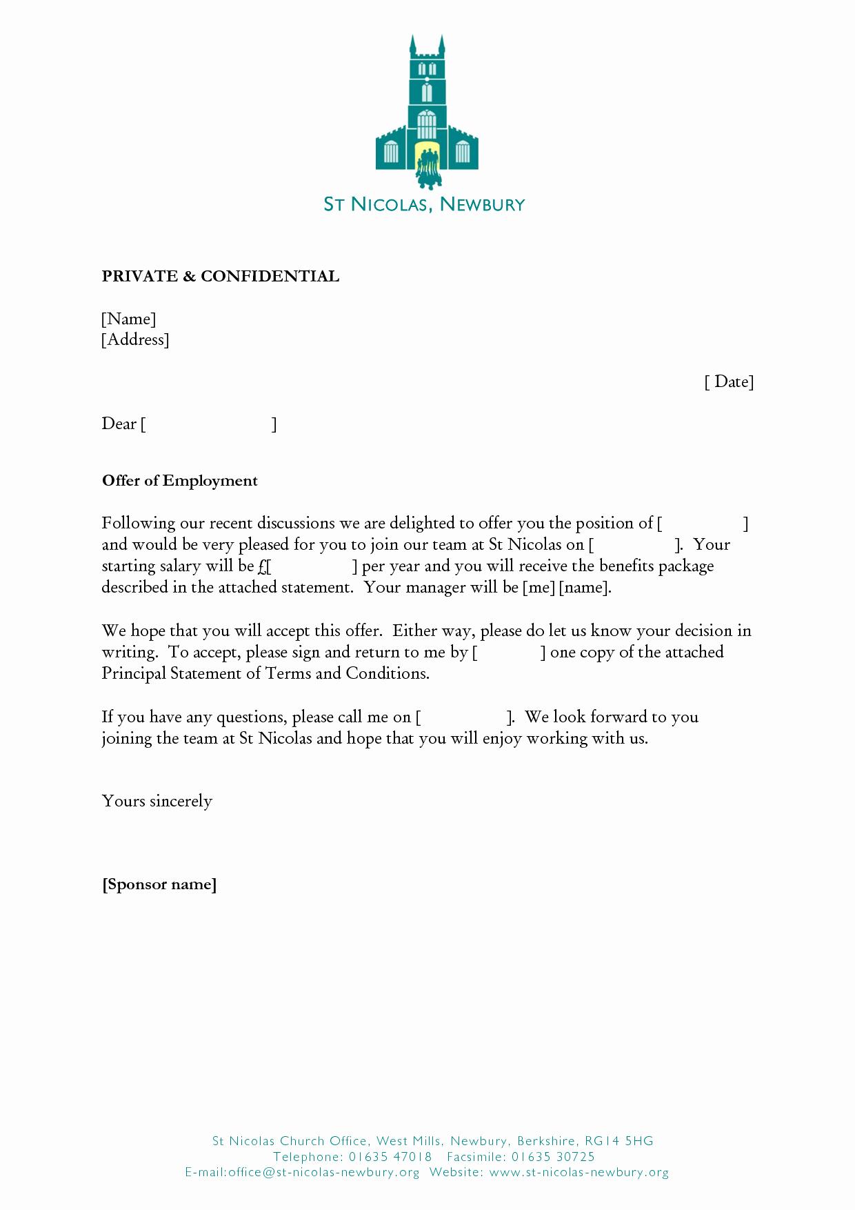 Employment Offer Letter Templates Lovely Job Fer Template