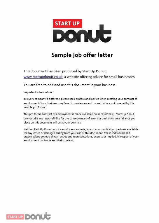 Employment Offer Letter Templates Lovely Job Offer Letter Template