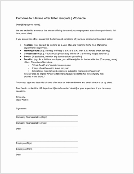 Employment Offer Letter Templates Luxury 8 Job Offer Letter Templates for Every Circumstance Plus