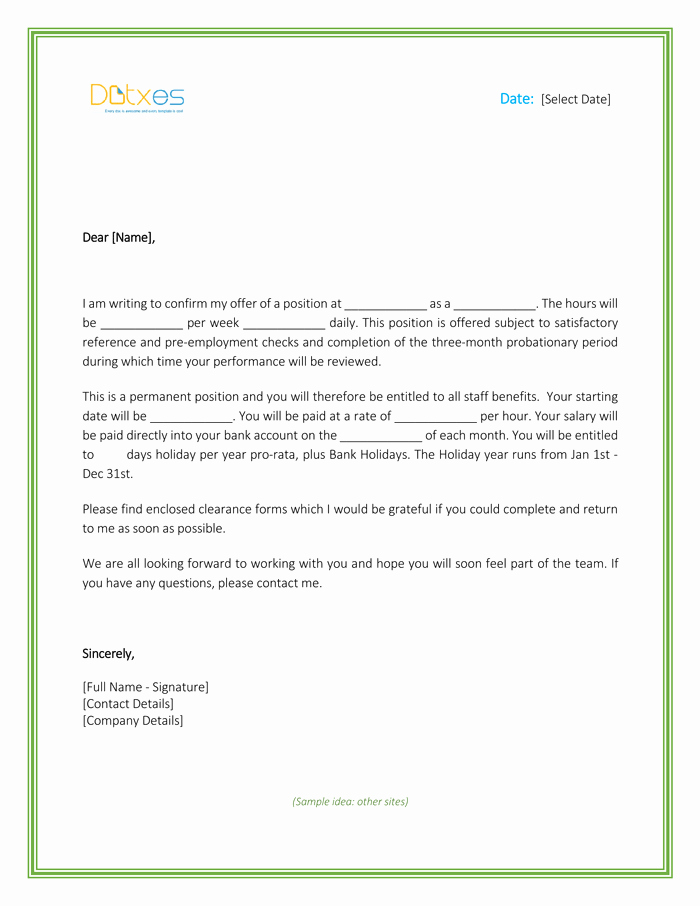 Employment Offer Letter Templates Luxury Job Fer Letter – Download Free formats and Sample for