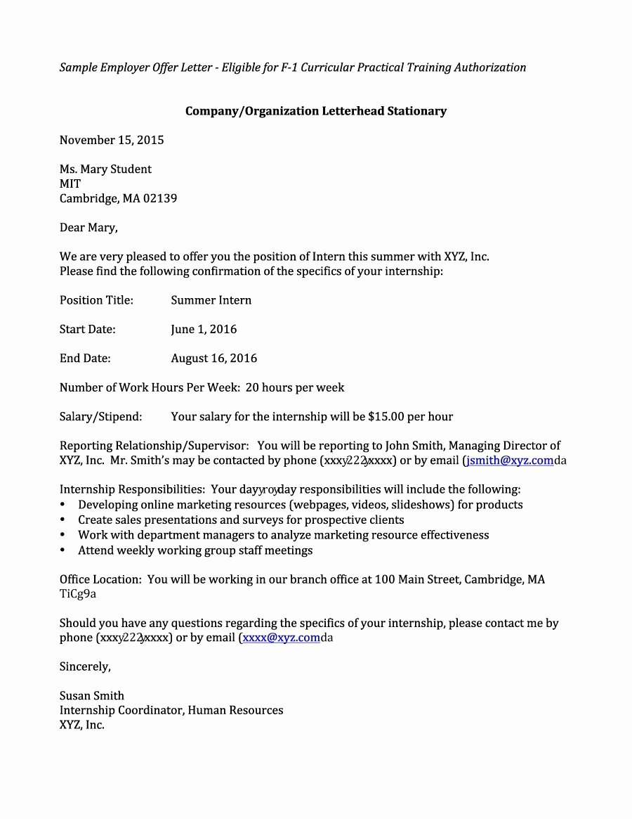 Employment Offer Letter Templates New 44 Fantastic Fer Letter Templates [employment Counter