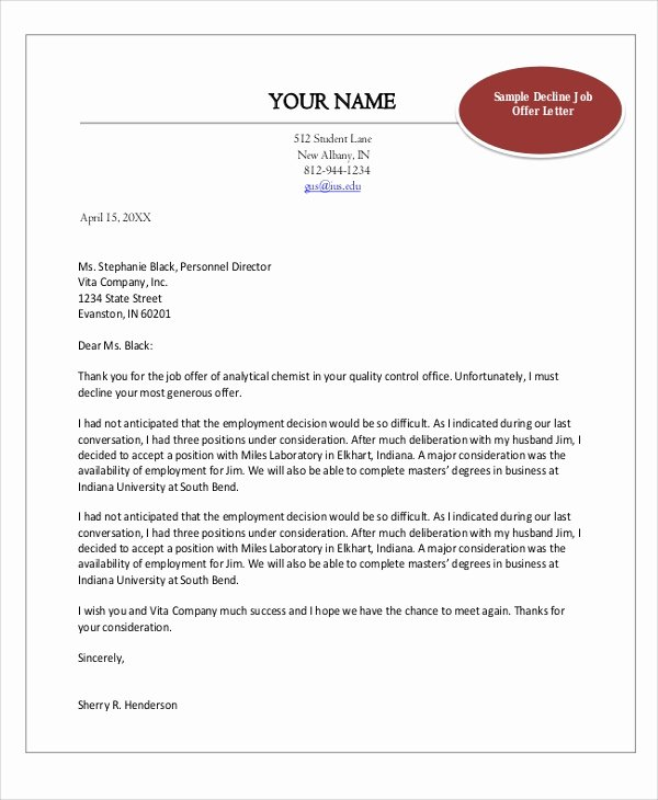 Employment Offer Letter Templates New Sample Job Fer Letter 8 Examples In Word Pdf