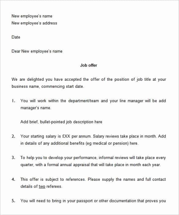 Employment Offer Letter Templates Unique 75 Fer Letter Templates Pdf Doc