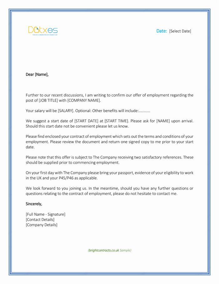 Employment Offer Letter Templates Unique Job Fer Letter Template for Uk