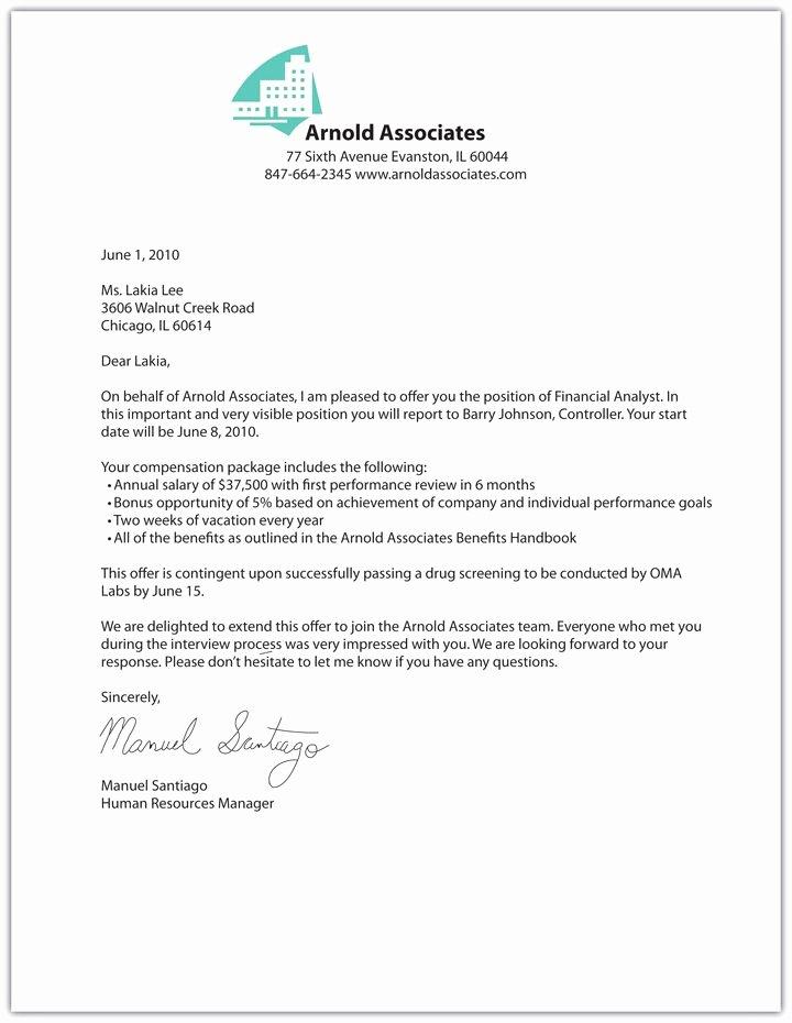 Employment Offer Letter Templates Unique Printable Sample Fer Letter Sample form