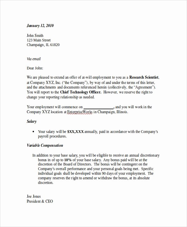 Employment Offer Letter Templates Unique Sample Employment Fer Letter 8 Documents In Pdf Word
