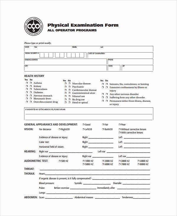 Employment Physical form Template Elegant 9 Sample Physical Exam forms Pdf