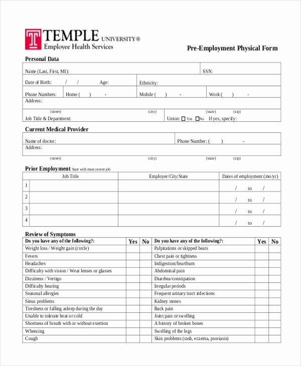 Employment Physical form Template Elegant Free 14 Sample Physical forms In Pdf