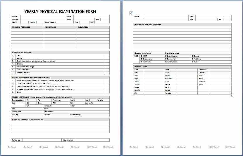 Employment Physical form Template Luxury Yearly Physical Examination form