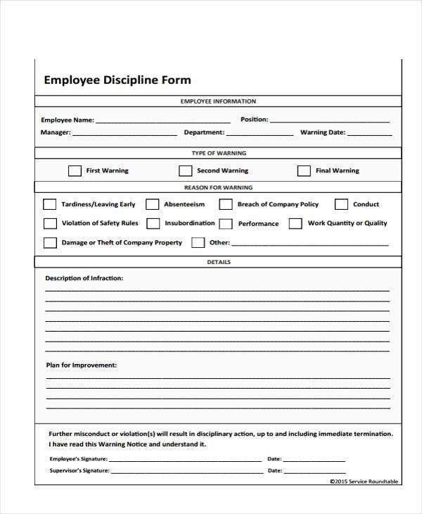 Employment Write Up Template Awesome Employee Write Up form Free Printable