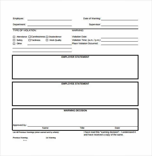 Employment Write Up Template Beautiful 40 Employee Write Up form Templates [word Excel Pdf]
